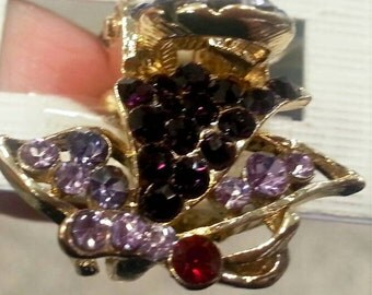 New Small Gold  With Light and Dark Amethyst Crystal 3/4 '' Hair Claw Clip