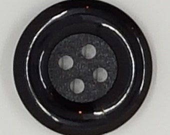 """Black Molded Plastic 4-Hole Buttons with Shiney Rim and Matte Center - 13/16""""- 32mm - 20 Ligne / Set of 8"""