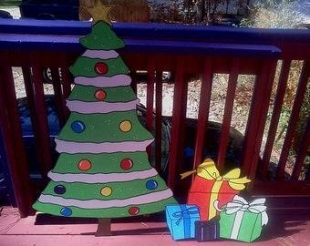 christmas tree with presents Yard art