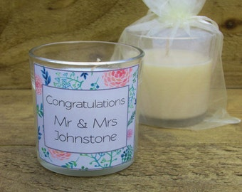Personalised scented candle votive - floral wedding