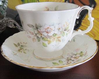 Royal Albert HAWORTH Bone China Tea Cup and Saucer - 1982 Mark  Made in England