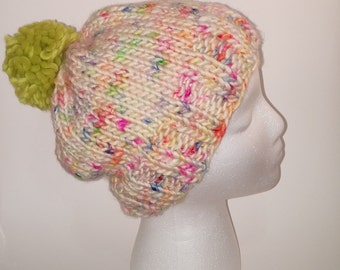 Bright and Colorful Merino Wool Beanie with Green Pom-Pom