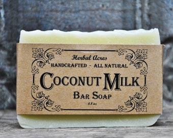 Coconut Milk Soap,  Unscented Organic Coconut Milk Soap, Natural Coconut Milk Soap, Natural Handmade Soap, Organic  Bar Soap, Minnesota Made