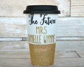 Bride Ceramic coffee cup, Bridesmaids gifts, Ceramic to go cup, Glitter dipped mug, Ceramic travel cup, Bride cup, Custom to go cup