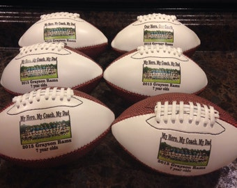 Personalized, Customized Mid-Size Footballs for Coaches' Gifts, Senior Gifts, Football Gifts and Team Awards