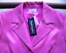 VINTAGE Nightingales Retro 1940s/1950s Style Blush Pink Linen Mix Dress & Jacket Suit UK 14/16 NEW