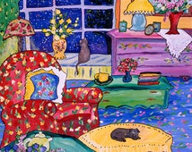 Inviting vibrant painting of home and two cats, moonlight window, Giclee canvas print, Celestial Song in Ojai California