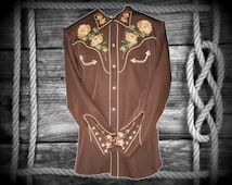 H Bar C Men's Vintage Western Embroidered Rosemead Shirt, El Dorado Collection, Size 16.5