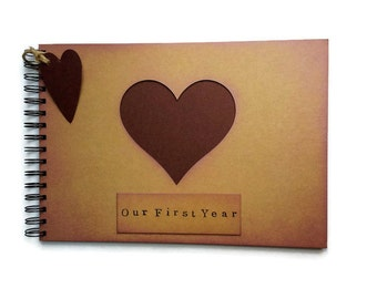 First year Marriage gift for husband / One year photo album / journal / rustic scrapbook memory book