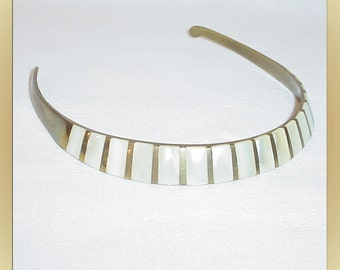Vintage Choker Necklace Brass with Mother of Pearl Inlay