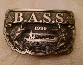 Bass Fishing Belt Buckle, 1990s, Fish, Vintage