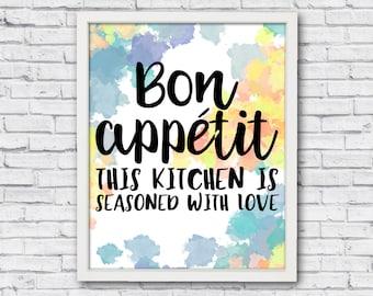 Printable poster, bon appetit, kitchen wall art, kitchen poster, kichen wall decor, bon appetit art, bon appetit poster, kitchen quote