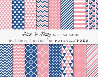 Pink Navy Digital Paper Pack, Pink Digital Scrapbook Paper Pack, Navy Digital Paper, Chevron, Polka dot, Stripes