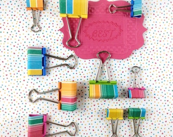 Back to school stationery - bright & fun foldback clips - binder clips - you're the best teacher gift - planner supplies - small, medium set