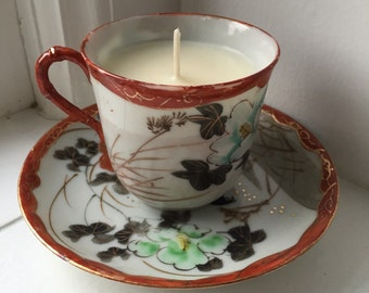 Teacup Candle - Soy Candle - Oriental Pattern
