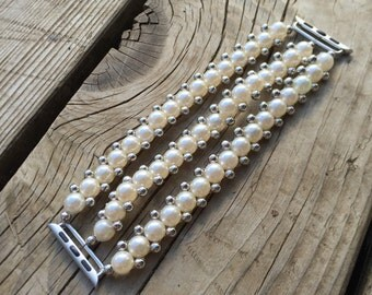 Apple Watch Band - 38mm or 42mm, featuring faux pearls and silver accent beads. Custom-made to fit, no-clasp, stretches over the hand.