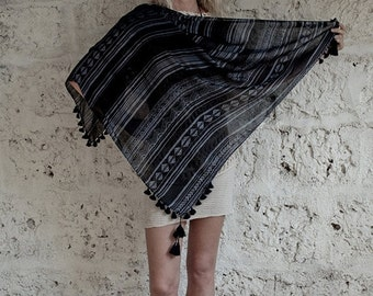 VALENTINES SALE Summer Fashion Scarf In Blueish Grey Black With Pompons, Square Scarf, Tribal Scarf, Spring Scarf,Gifts For Her,Hanamer,HMVS