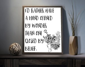 Open Mind Digital Art Print - Inspirational Wonder Wall Art, Motivational Belief Quote Art, Printable Spiritual Third Eye Typography