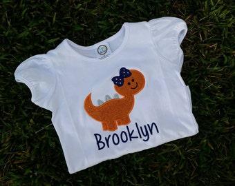 personalized Girly Dinosaur dino shirt