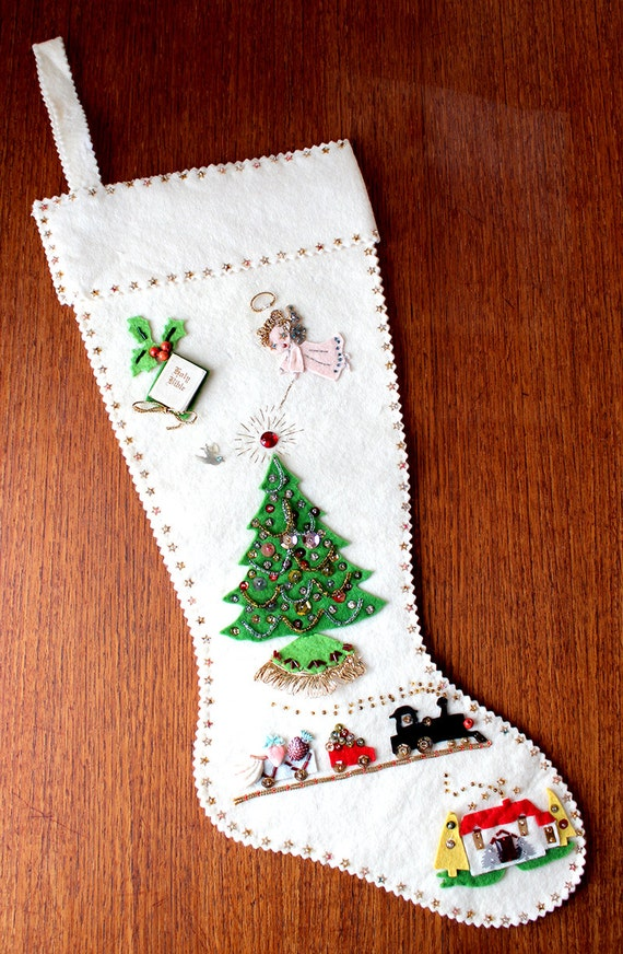 Vintage felt and sequins stockings