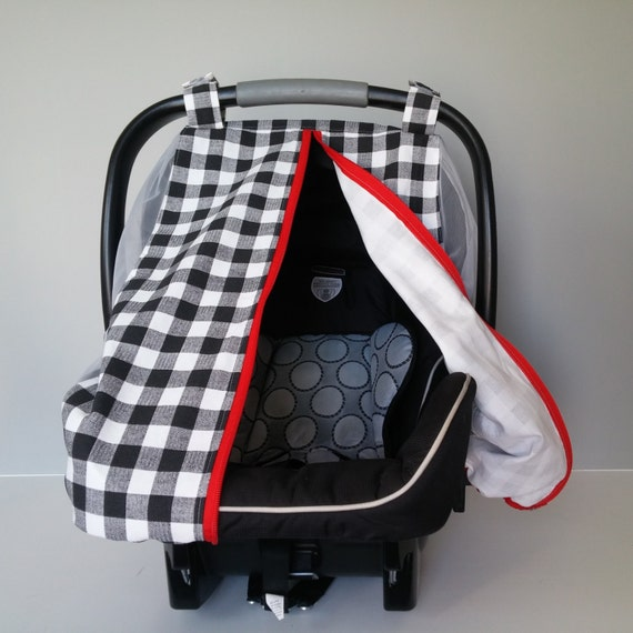 made to order summer car seat canopy black and white plaid. Black Bedroom Furniture Sets. Home Design Ideas