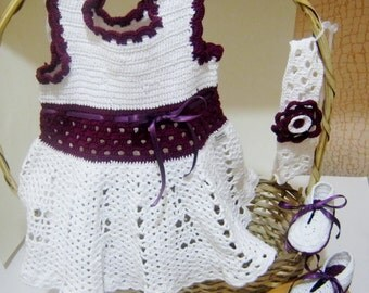 Soft White and Red Hand Crocheted Baby Dress Headband and Booties Set 3-9 Months READY TO SHIP