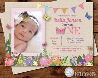 Butterfly Birthday Invitations First Birthday ONE 1st 1 Invites INSTANT DOWNLOAD Girls Ladybird Pink Photo Floral Personalize Edit Printable