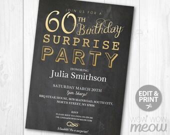 surprise 60th birthday invitations | etsy, Birthday invitations