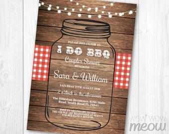I Do BBQ Invitation Mason Jar Rustic Engagement Party Invite Couples Shower Printable INSTANT Download Lights Personalize Editable Printable