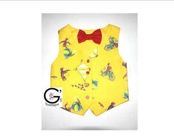 Curious George Monkey Vest Boys Baby Ring Bearer Wedding Toddler Bow Tie Tuxedo Vest Birthday Outfit Shirt Smash Cake