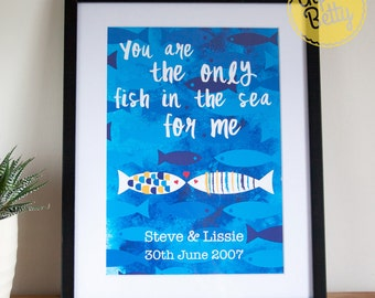 Personalised Anniversary Art Print, Only fish in the sea for me, Personalised Wedding Print, Personalised Engagement Gift, Anniversary Gift