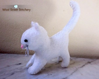 Small white cat, felt cat, soft toy cat, white kitten, stuffed felt animal