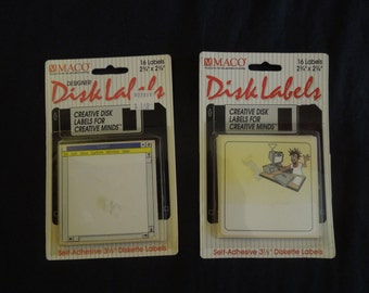 90s 2 Floppy Disc Label Stickers New in Package