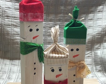 Warm snowmen wood block set