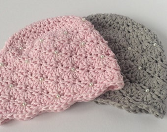 Newborn Vintage Style Pink Baby Girl Hat with Bead Detail