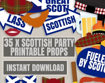 35 Scottish Party Props, Printable Scotland themed photo booth Props, Scottish party photobooth ideas, scot printable diy props