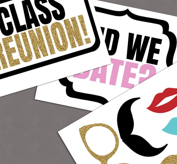 Class Reunion Photo Booth Props School By Yougrewprintables