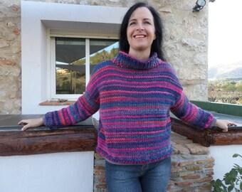 hand knitted warm woolen jumper in pink / blue