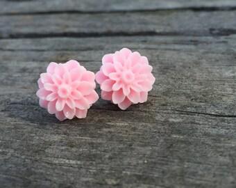 Resin dahlia flower stud earrings, resin, titanium ear post