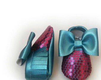 Sparkly mermaid blue moccasins