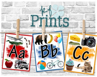 Alphabet Flashcards, Educational Posters, Kindergarten, Preschool, Classroom, Playroom, Decoration, Colorful Set, Upper and Lowercase, Learn