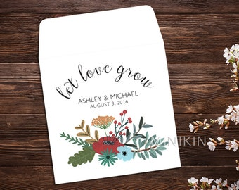 Wedding Seed Packet, Seed Favor, Let Love Grow, Wedding Favor, Boho Wedding, Seed Packet, Wildflower Seeds, Seed Packet Favor x 25