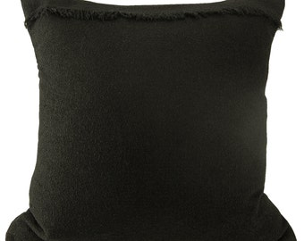 Black  Pillow Cover , Boucle Cashmere Pillow with Dupioni Silk Lining - 22 x 22