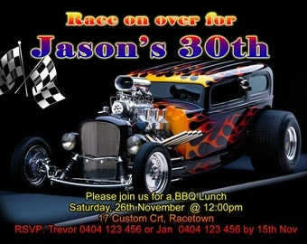 Hot Rod Birthday Party Invitation - Any Age - 4 x 6 or 5x7 size - You Print and Save