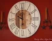 32 Inch Rustic Wall Clock, Large Wooden Clock, Distressed Clock, Farmhouse Clock, Roman Numeral, Rustic Clock, Handcrafted Clock, Handmade