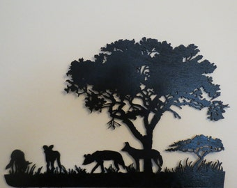 South African Wild Dogs and Acacia Tree
