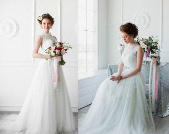 White wedding dress, tulle gown, white tulle gown, tulle bridal, modest tulle dress, tulle weding gown