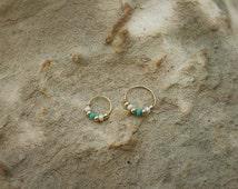 Handmade Beaded Piercing Earring, Gold Rook Piercing Earring, Piercing Jewelry, Nose ring, Daith Helix Piercing Beaded Cartilage Earring
