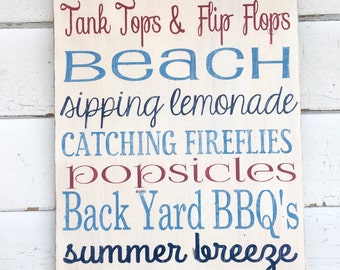 HAND PAINTED DISTRESSED Typography Wooden Wall Art Sign Summer Time Subway Art
