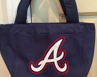 Atlanta Braves lunch tote, lunch box, braves glitter lunch tote